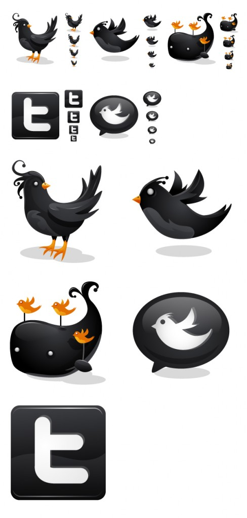 Black Twitter icons by iconhive 488x1024 45+ Delicious Free Twitter Icons and Resources