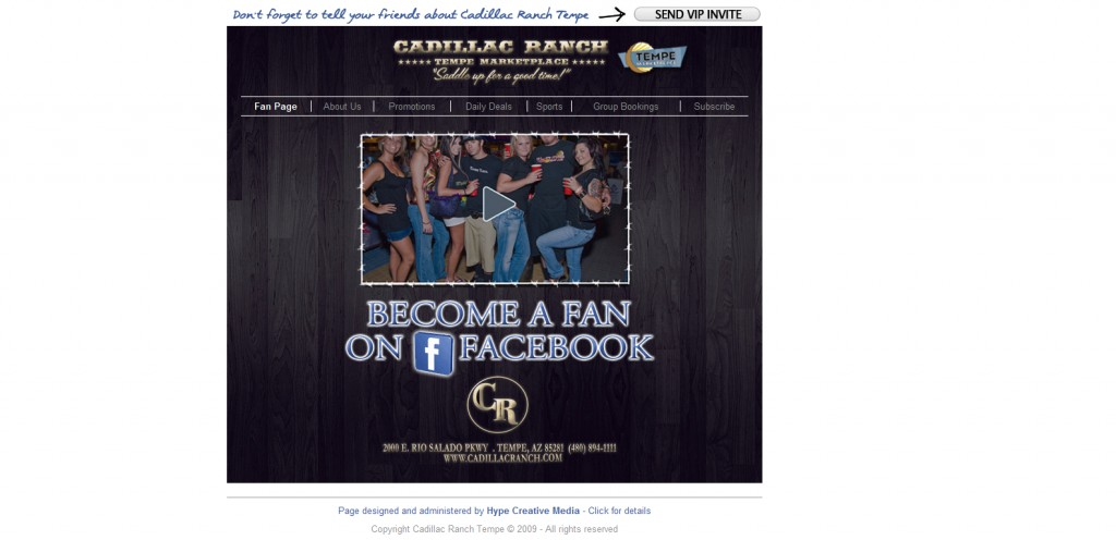 CadillacRanchTempe 1024x496 40 Great Examples of Facebook Fan Page Designs