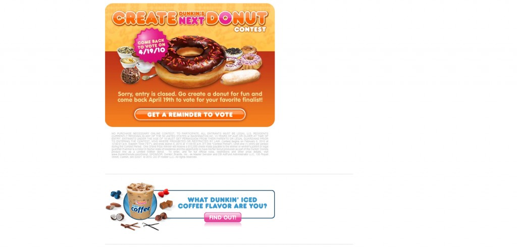 DunkinDonuts 1024x496 40 Great Examples of Facebook Fan Page Designs