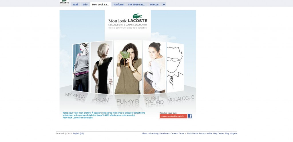 Lacoste 1024x496 40 Great Examples of Facebook Fan Page Designs
