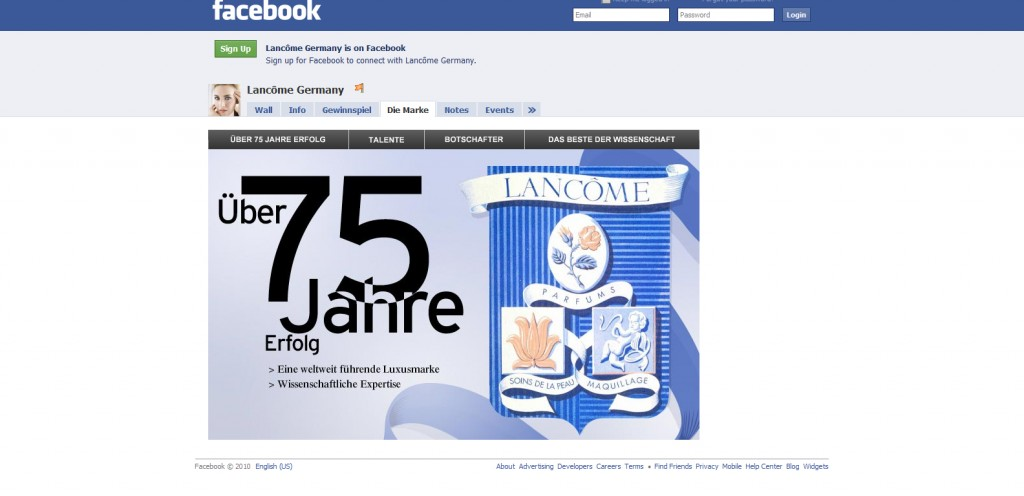 LancomeGermany 1024x496 40 Great Examples of Facebook Fan Page Designs