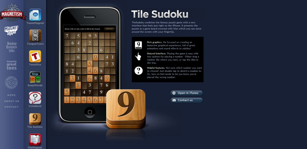 TileSudoku 1024x496 100 Wonderfully Designed iPhone App Websites