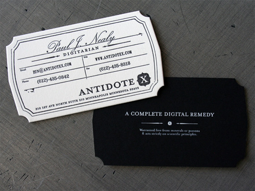 antidote 100 Refreshing Black & White Business Cards