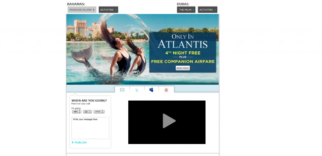 atlantis 1024x496 40 Great Examples of Facebook Fan Page Designs
