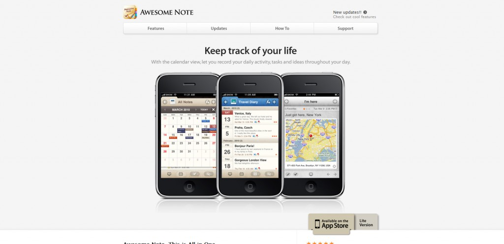 awesomenote 1024x496 100 Wonderfully Designed iPhone App Websites
