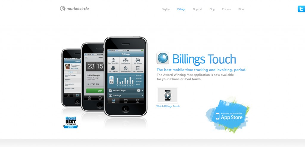 billingsapp 1024x496 100 Wonderfully Designed iPhone App Websites