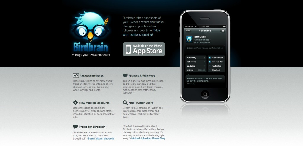 birdbrainapp 1024x496 100 Wonderfully Designed iPhone App Websites