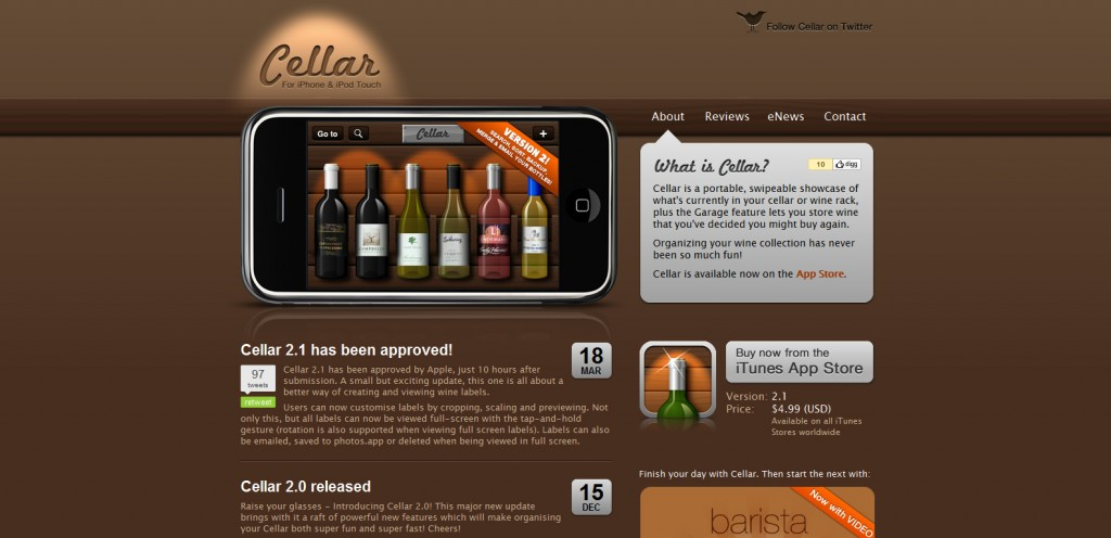 cellar 1024x496 100 Wonderfully Designed iPhone App Websites