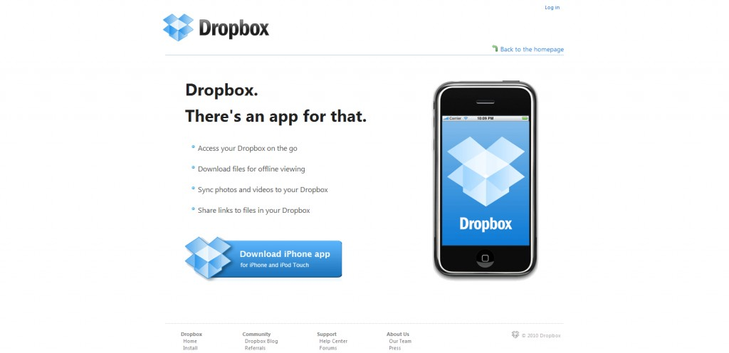 dropbox 1024x496 100 Wonderfully Designed iPhone App Websites