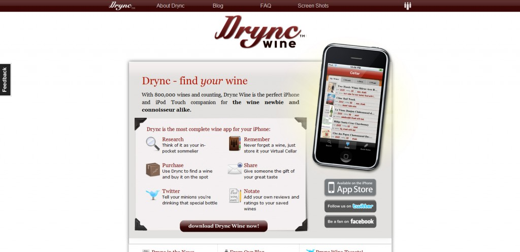 drync 1024x496 100 Wonderfully Designed iPhone App Websites