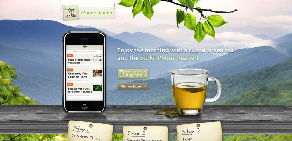 ecoki 1024x496 100 Wonderfully Designed iPhone App Websites