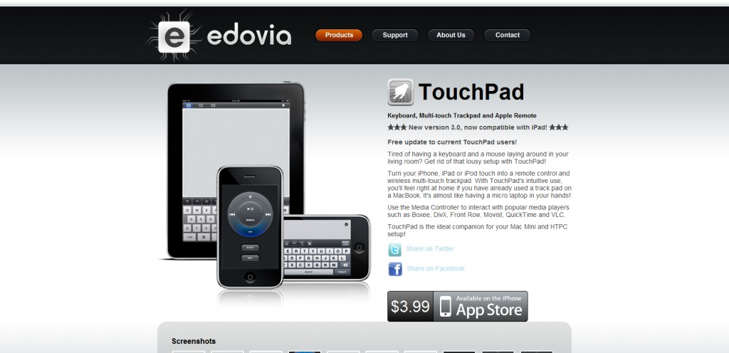 edovia 1024x496 100 Wonderfully Designed iPhone App Websites