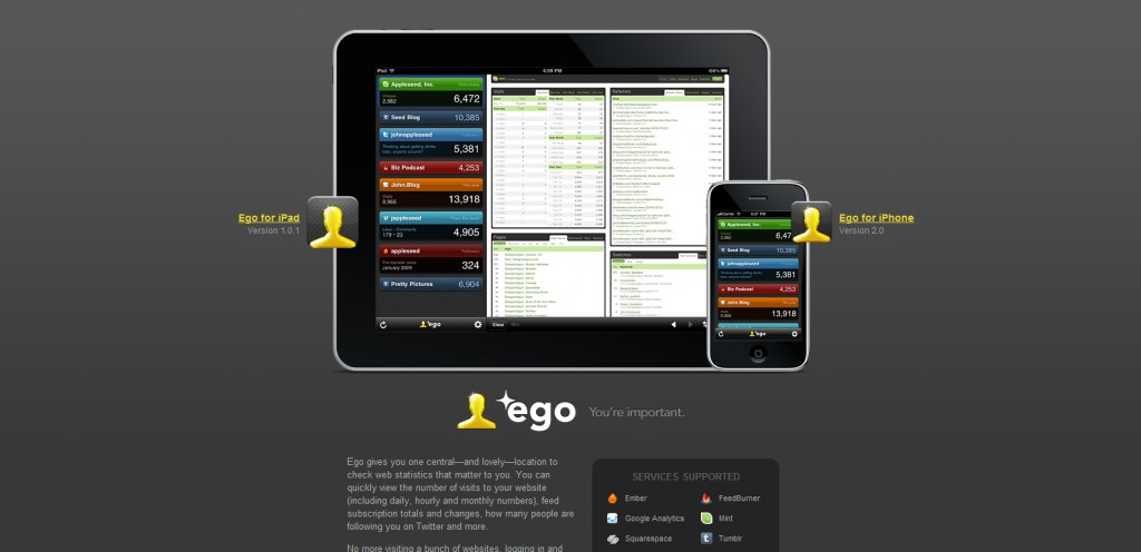 ego app 1024x496 100 Wonderfully Designed iPhone App Websites