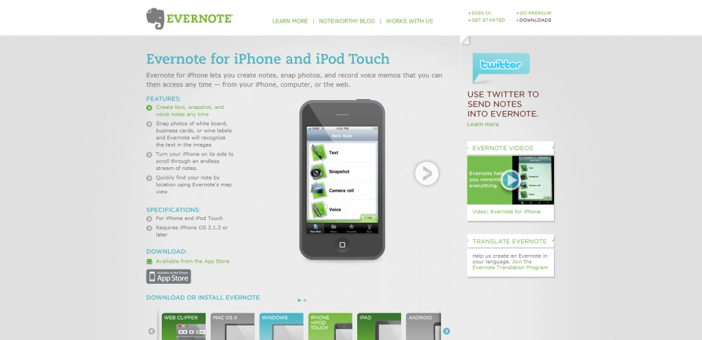 evernote 1024x496 100 Wonderfully Designed iPhone App Websites