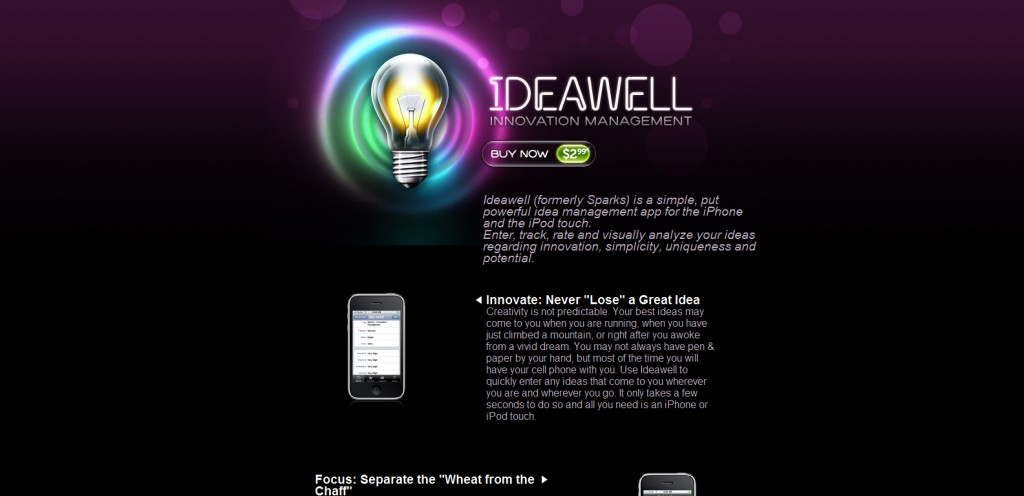 ideawell 1024x496 100 Wonderfully Designed iPhone App Websites