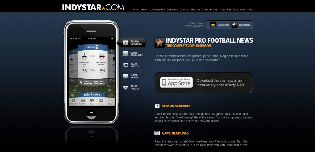 indystar 1024x496 100 Wonderfully Designed iPhone App Websites