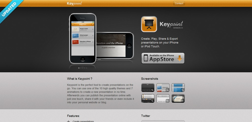 keypointapp 1024x496 100 Wonderfully Designed iPhone App Websites