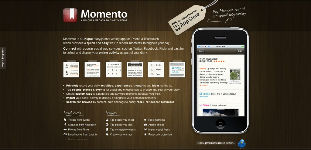 momentoapp 1024x496 100 Wonderfully Designed iPhone App Websites