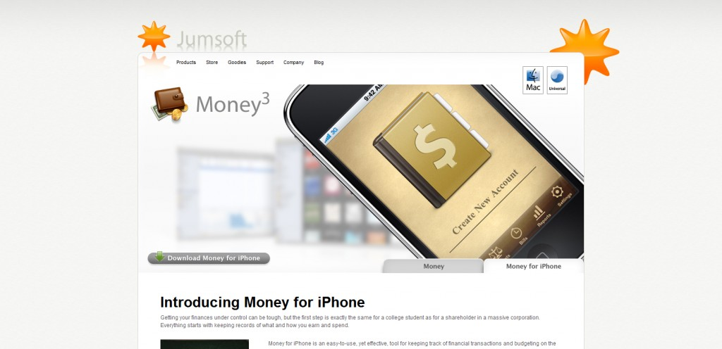 money 1024x496 100 Wonderfully Designed iPhone App Websites