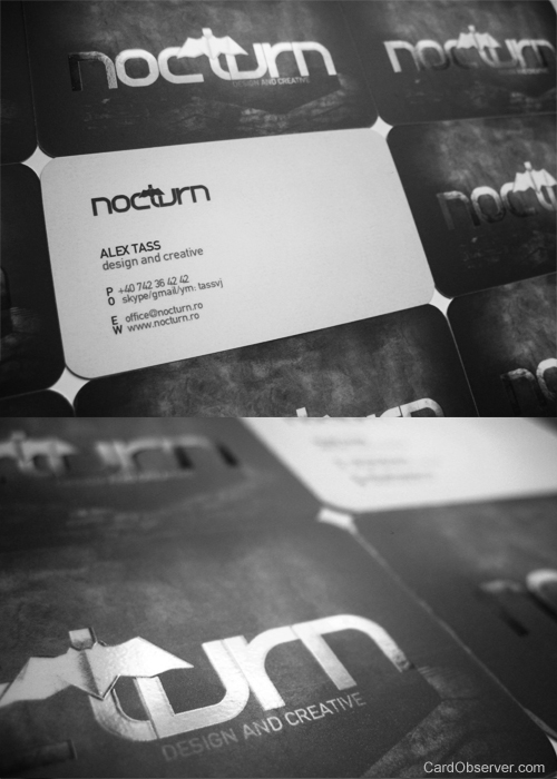 nocturn 100 Refreshing Black & White Business Cards