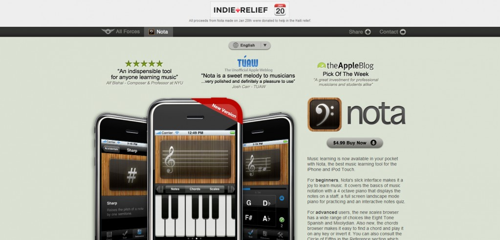 noteapp 1023x492 100 Wonderfully Designed iPhone App Websites