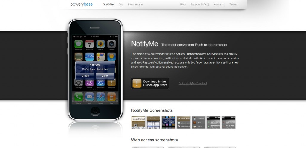 notifyme 1024x496 100 Wonderfully Designed iPhone App Websites