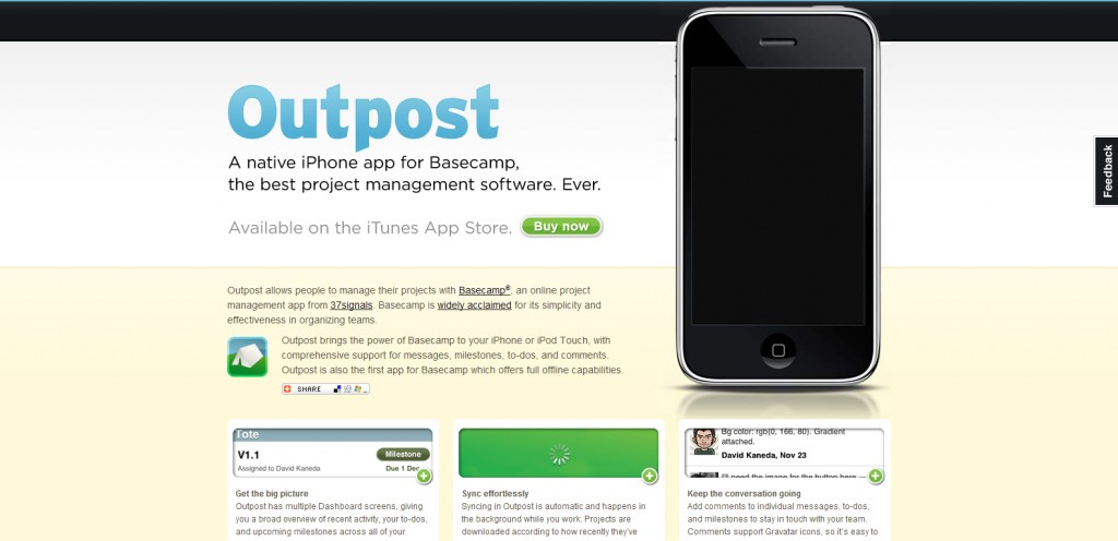 outpostapp 1024x496 100 Wonderfully Designed iPhone App Websites