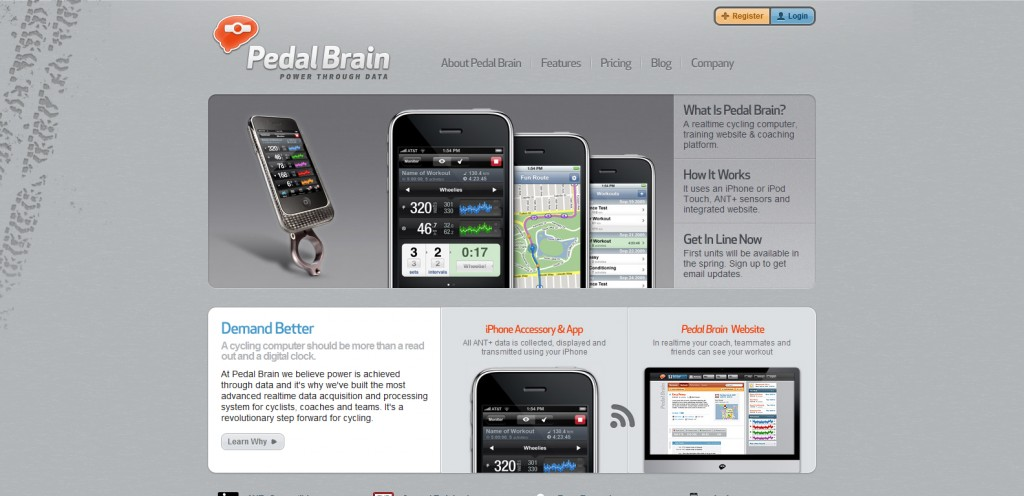 pedalbrain 1024x496 100 Wonderfully Designed iPhone App Websites