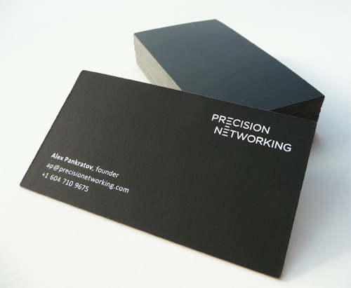 precision 100 Refreshing Black & White Business Cards