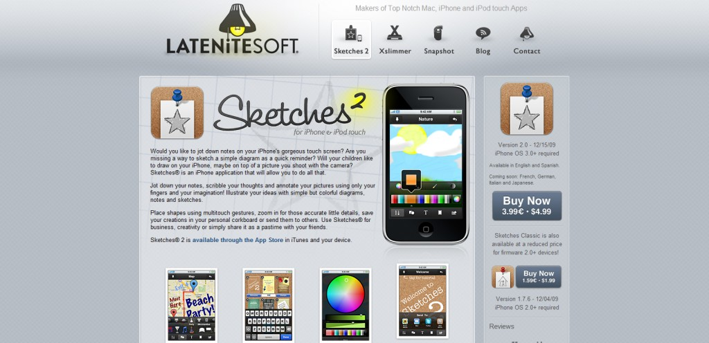sketches 1024x496 100 Wonderfully Designed iPhone App Websites