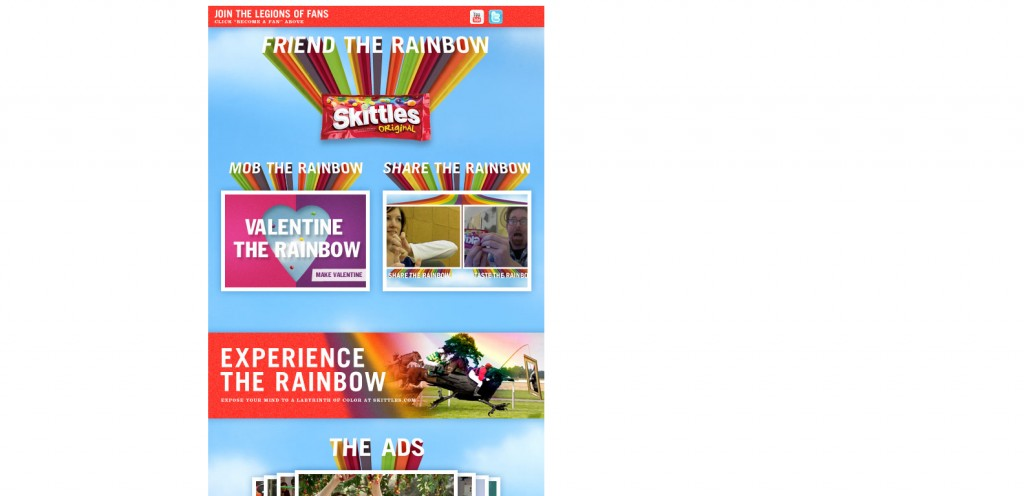 skittles 1024x496 40 Great Examples of Facebook Fan Page Designs