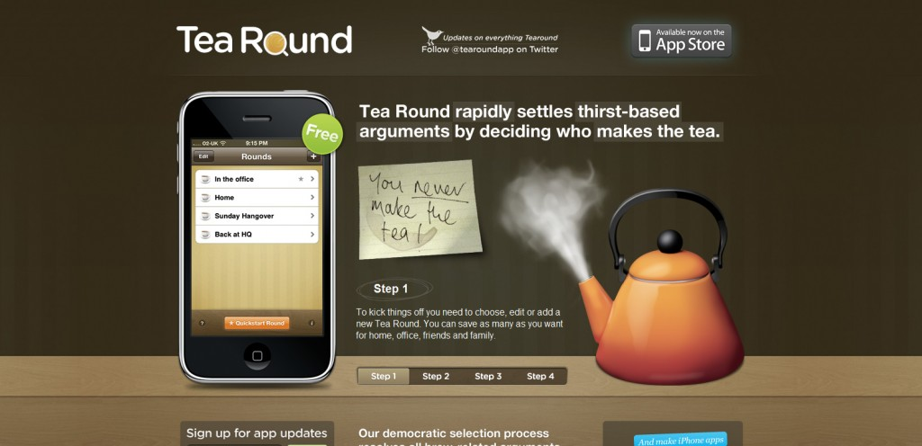 tearoundapp 1024x496 100 Wonderfully Designed iPhone App Websites