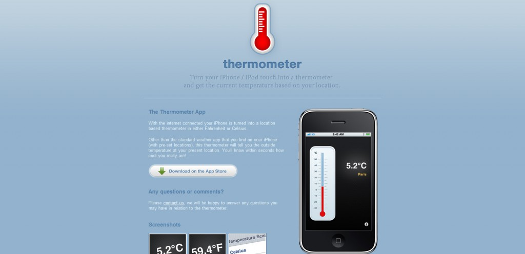 thermometerapp 1024x496 100 Wonderfully Designed iPhone App Websites