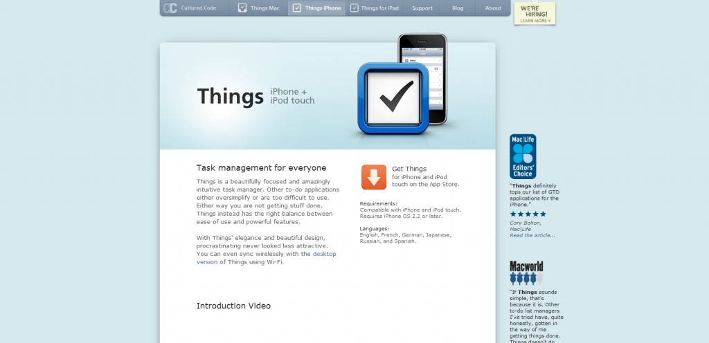 things 1024x496 100 Wonderfully Designed iPhone App Websites