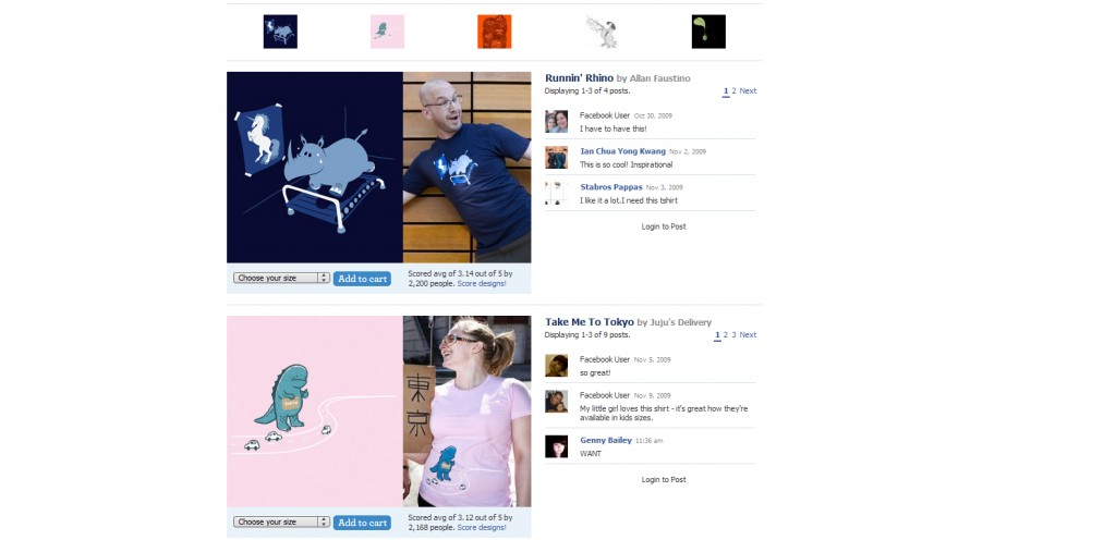 threadless 1024x496 40 Great Examples of Facebook Fan Page Designs