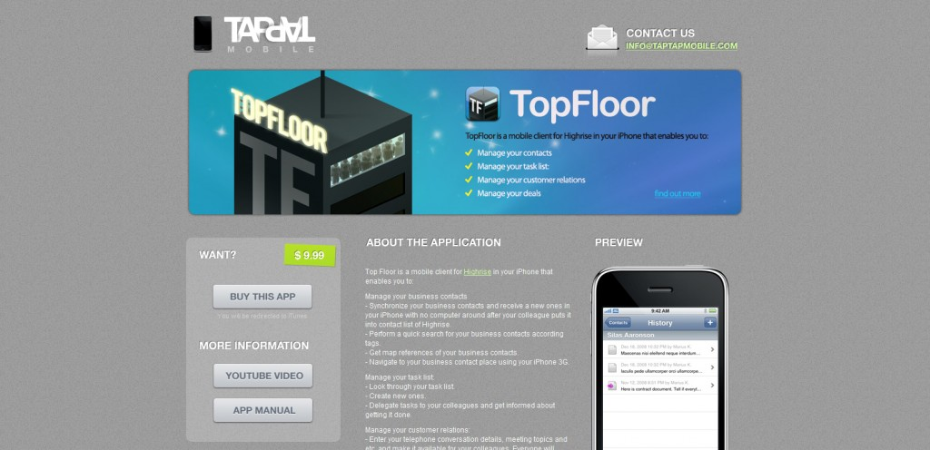 topfloor 1024x496 100 Wonderfully Designed iPhone App Websites