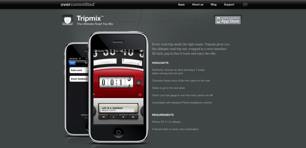 tripmix 1024x496 100 Wonderfully Designed iPhone App Websites