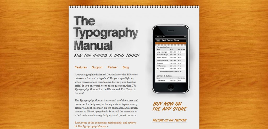 typographyapp 1024x496 100 Wonderfully Designed iPhone App Websites