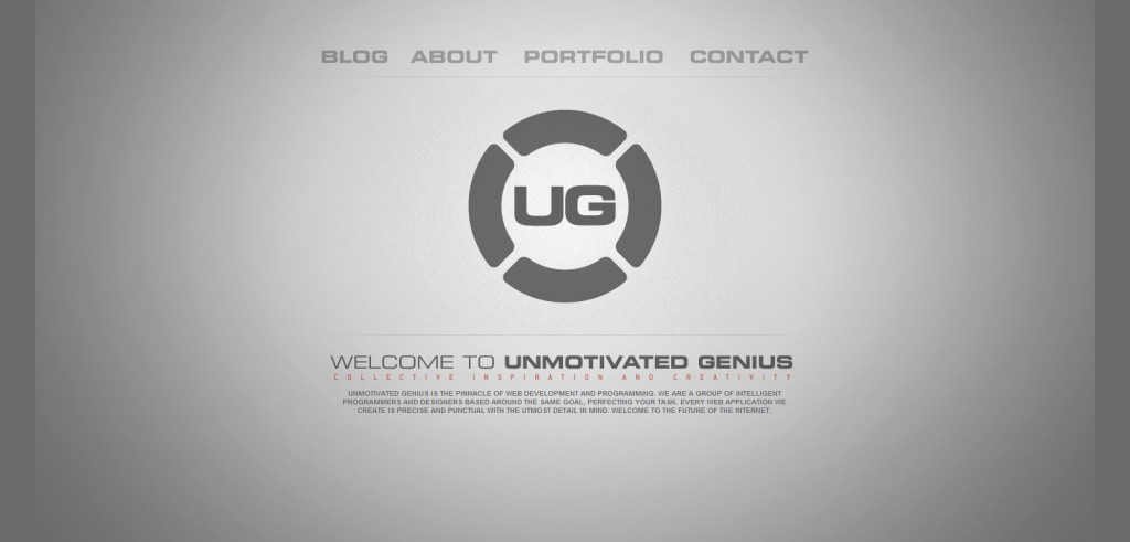 unmotivatedgenius 1024x491 50 Unique Examples of Single Page Portfolios