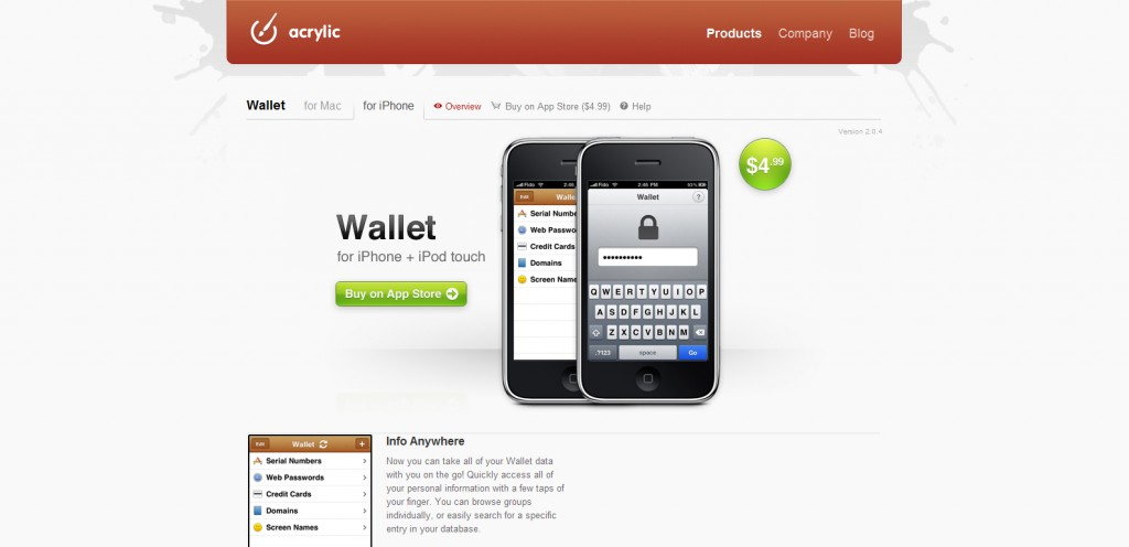 wallet 1024x496 100 Wonderfully Designed iPhone App Websites