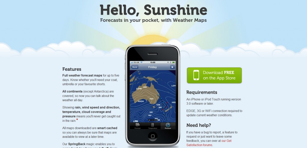 weathermapsapp 1024x496 100 Wonderfully Designed iPhone App Websites
