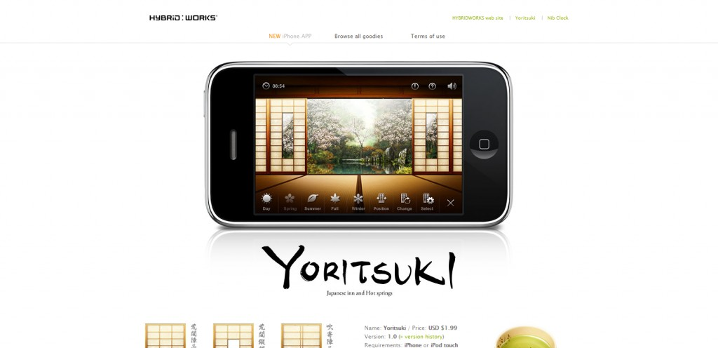 yoritsuki 1024x496 100 Wonderfully Designed iPhone App Websites