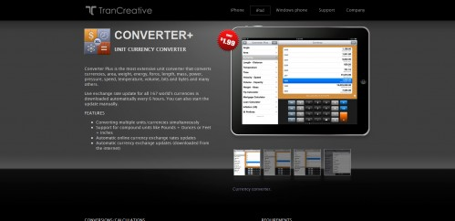 ConverterPlus 499x242 49 Creative iPad Application Websites