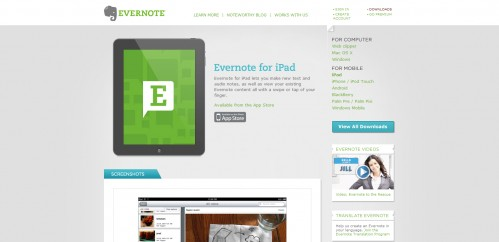 evernote 499x242 49 Creative iPad Application Websites