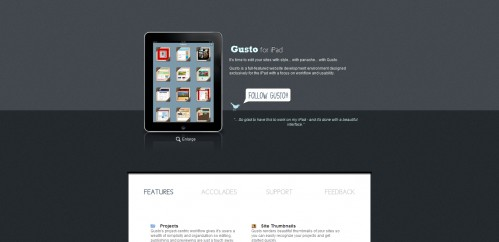 gusto 499x242 49 Creative iPad Application Websites