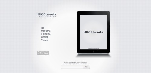 hugetweetsapp 499x242 49 Creative iPad Application Websites