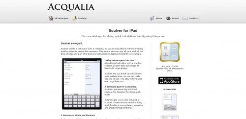 soulver 500x243 49 Creative iPad Application Websites