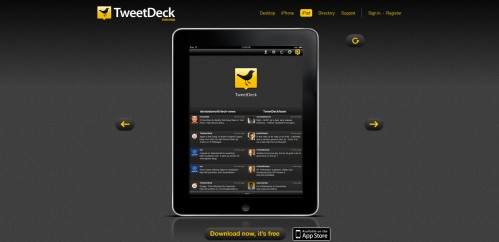 tweetdeck 499x242 49 Creative iPad Application Websites