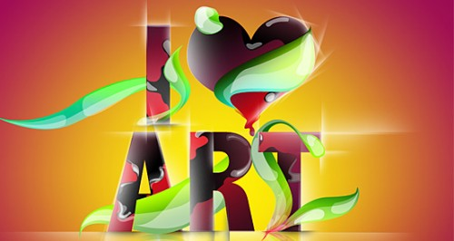 i love art 500x266 50 Remarkable Examples of Typography Design #2