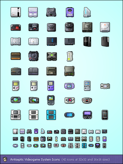 Antiseptic Videogame Systems by starvingartist1 50 Pixel Perfect Icons Sets for Your Collection!